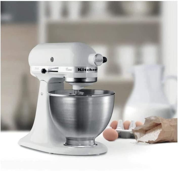 Impastatrice planetaria KitchenAid 5K45SSEWH robot da cucina classico, 10 velocità , 4.3 L,